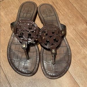 Tory Burch Brown Snakeskin Miller Sandals